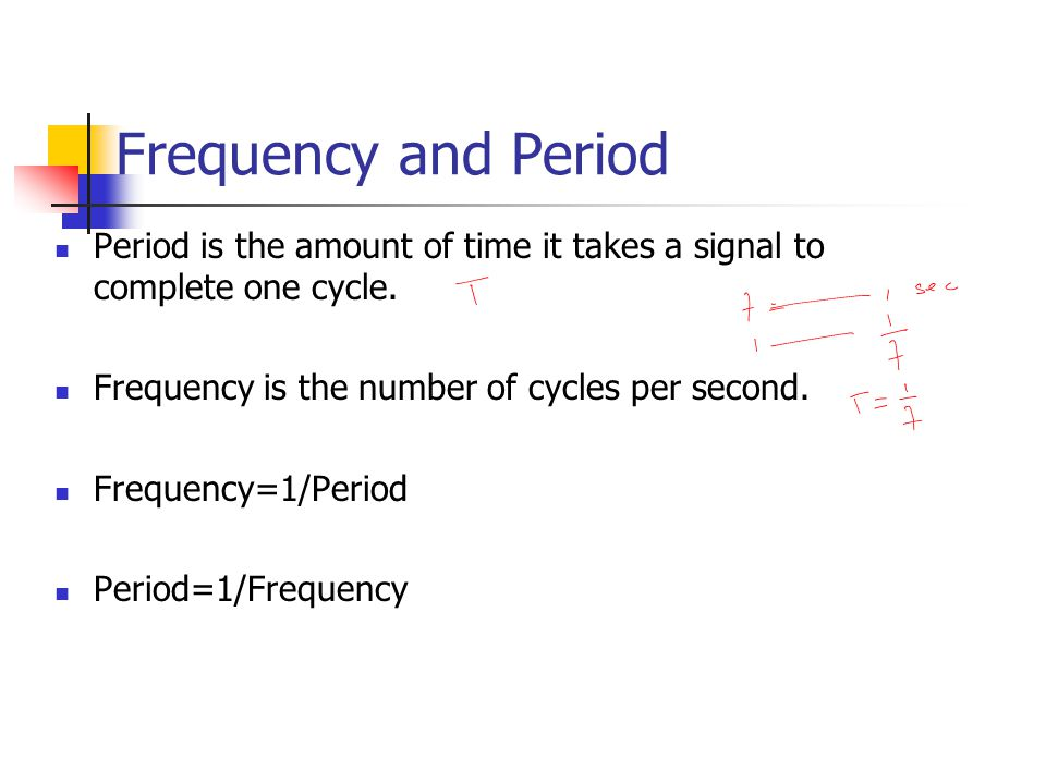 Frequency and Period Period is the amount of time it takes a signal to complete one cycle. Frequency is the number of cycles per second.