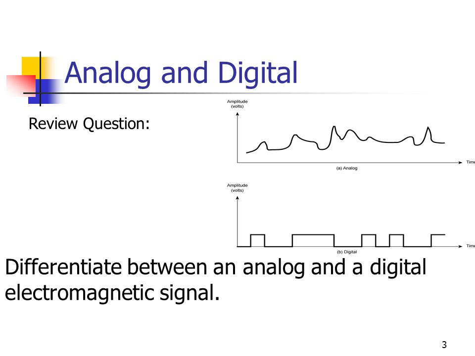Analog and Digital Review Question: Differentiate between an analog and a digital electromagnetic signal.