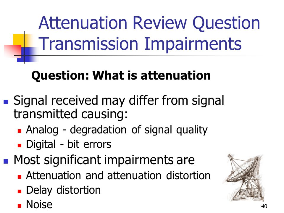 Attenuation Review Question Transmission Impairments