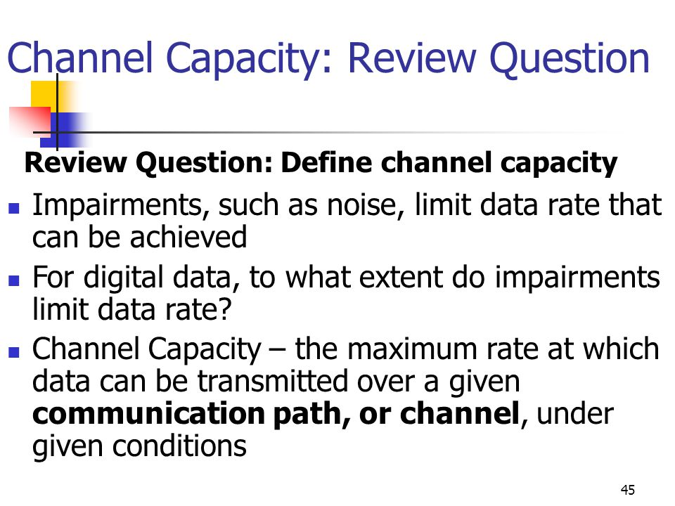 Channel Capacity: Review Question