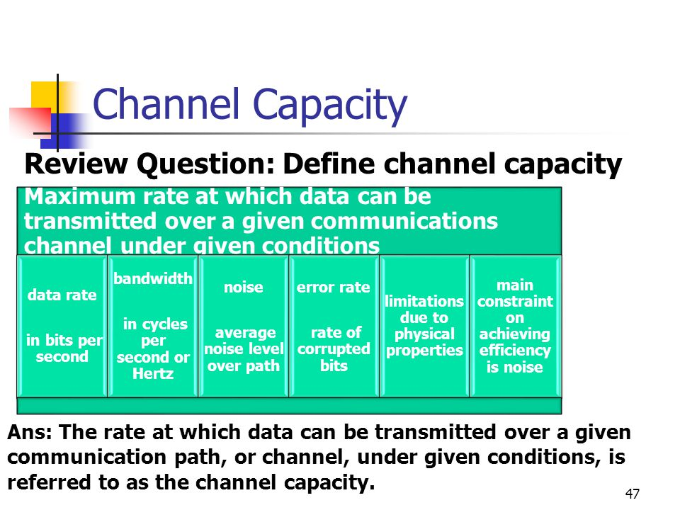 Channel Capacity Review Question: Define channel capacity