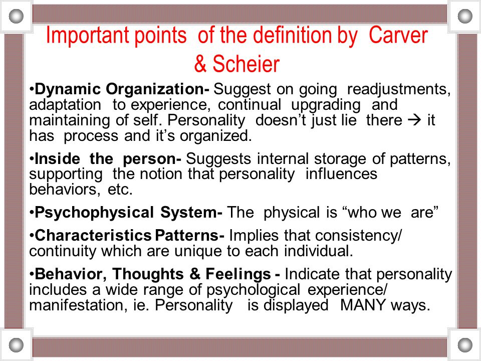 Important points of the definition by Carver & Scheier