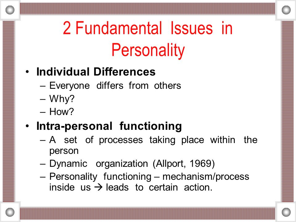 2 Fundamental Issues in Personality