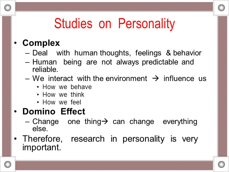 Studies on Personality