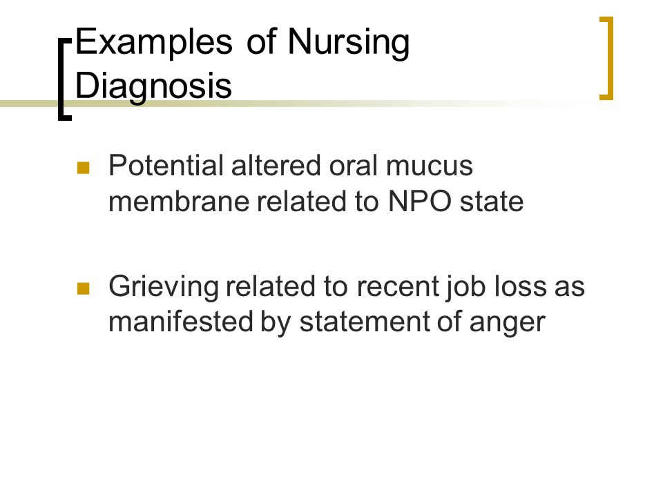 Examples of Nursing Diagnosis