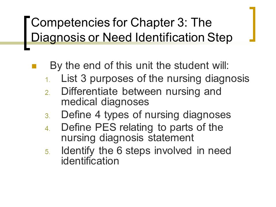 Competencies for Chapter 3: The Diagnosis or Need Identification Step