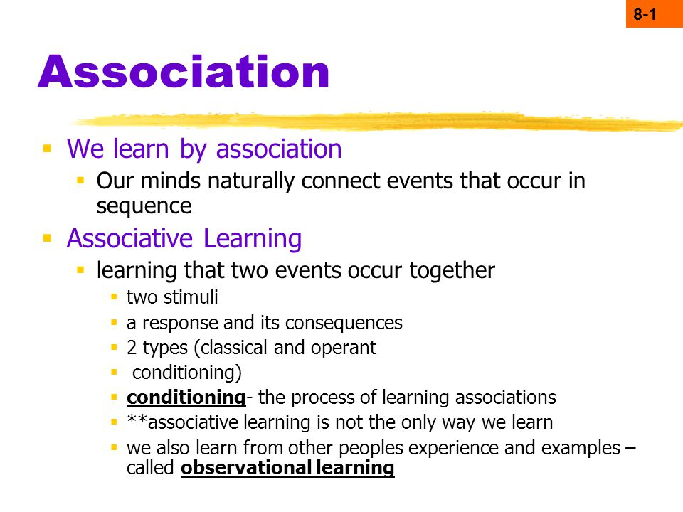 Application of classical conditioning in learning by