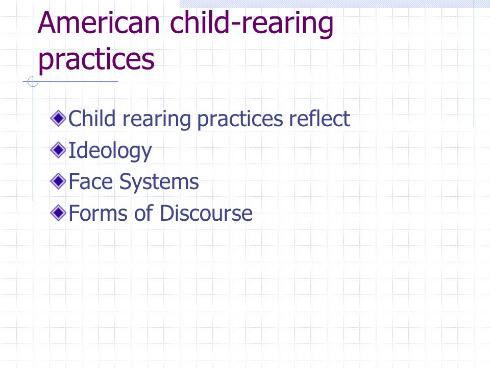 child rearing practices in chinese and american Indian immigrant families in the us may have a number of child-rearing customs and beliefs that differ from those of other us families, depending on the extent to which the family tries to maintain their indian traditions.