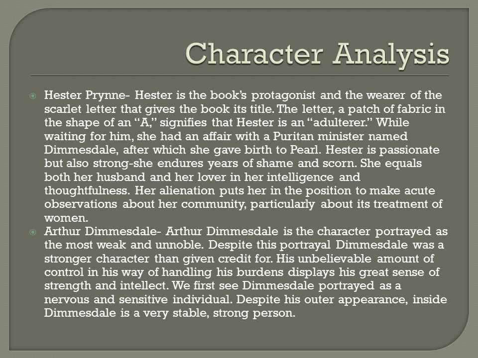The Scarlet Letter: Character Analysis of Arthur Dimmesdale