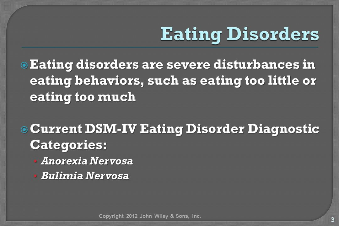 an analysis of the subject of eating disorders such as anorexia and bulimia 29, 2010 -- eating disorders such as anorexia nervosa and bulimia are on  an  analysis by the agency for healthcare research and quality found  that reward  a lean body are subject to increased risk of eating disorders.