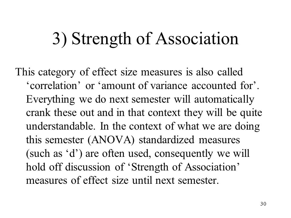 strength of association Lambda is defined as an asymmetrical measure of association that is suitable for use with nominal variablesit may range from 00 to 10 lambda provides us with an indication of the strength of the relationship between independent and dependent variables.