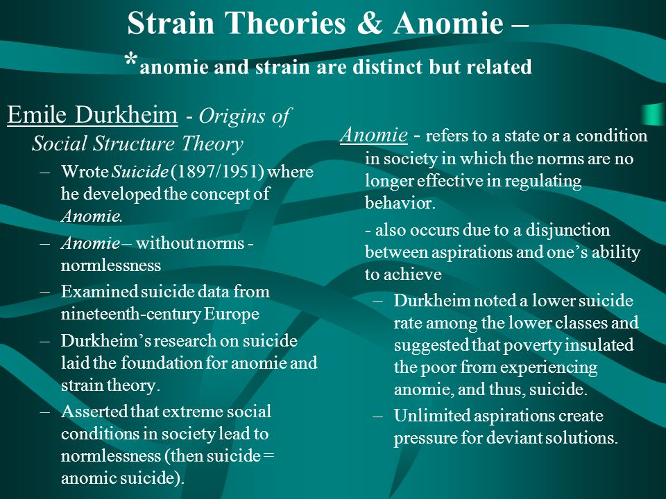 durkheim s concept of anomic suicide Durkheim's theory suggests that anomic influences pushed up the rates until 1985, but similar societal (anomic) forces drove them downward to their minimum in 2000 if one takes durkheim seriously, this dynamic—deviating from the 'normal' or 'specific' suicide level—is attributed to anomie, regardless of its direction.