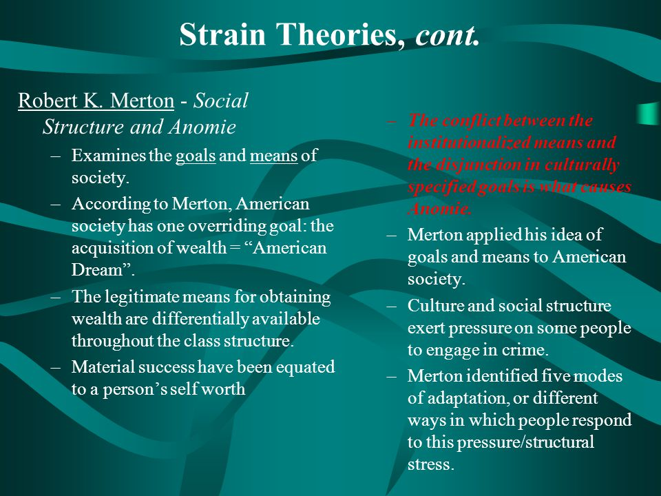 mertons social structure The strain theory was situated in an article entitled social structure and anomie, which was published in 1938 however.