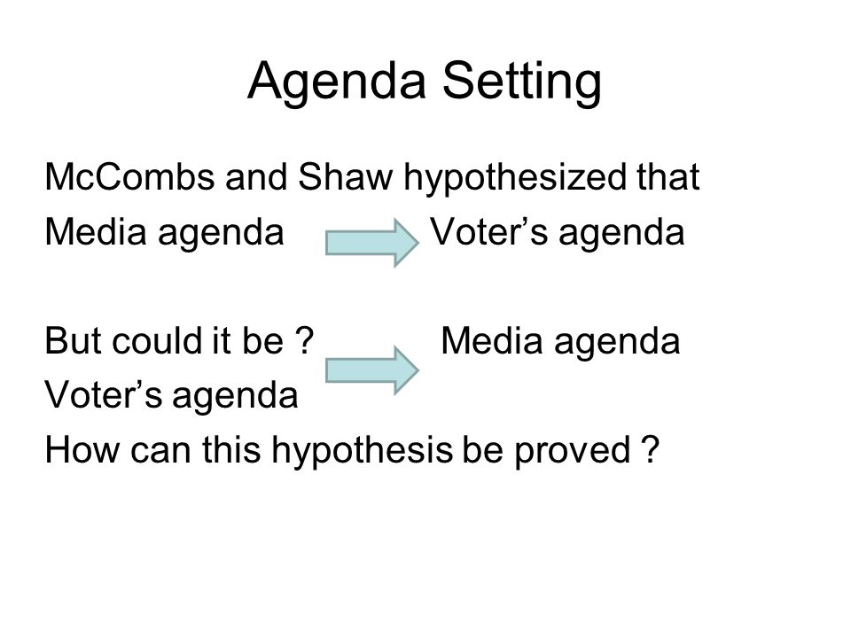 An analysis of maxwell mccombs and donald shaws agenda setting theory on the influence of the media