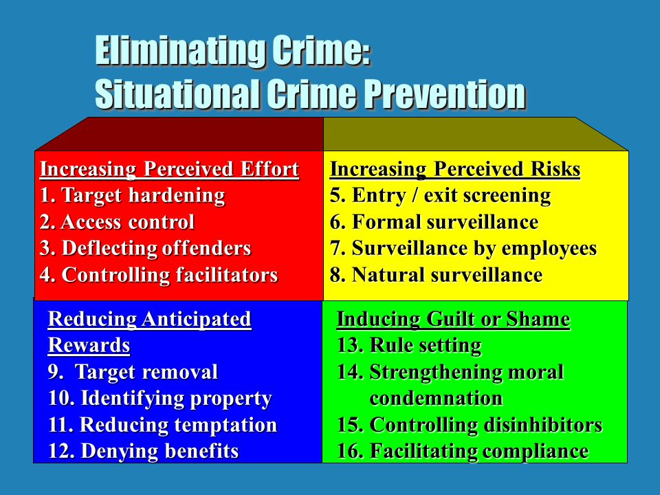 classical theory pertains to crime prevention This theme was taken up by travis hirschi's control theory (1969)  white-collar  or corporate crime refers to crimes committed by corporate employees or.
