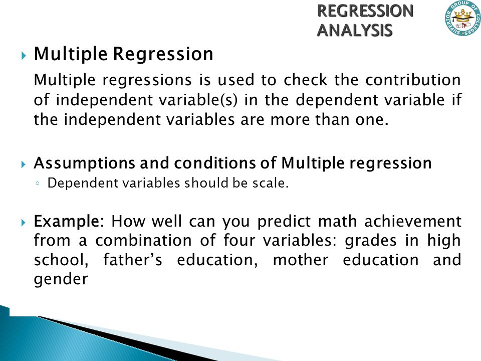 assignment regression analysis and quantitative techniques Research methods is a broad term while methods of data collection and data analysis represent the core of research methods, you have to address a range.
