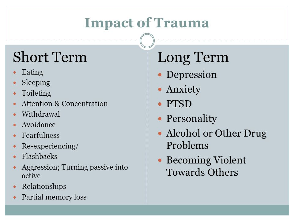 the impact of traumatic death in What to watch for in the weeks and months after an upsetting event - signs of trauma in children and how to begin to address the issue.