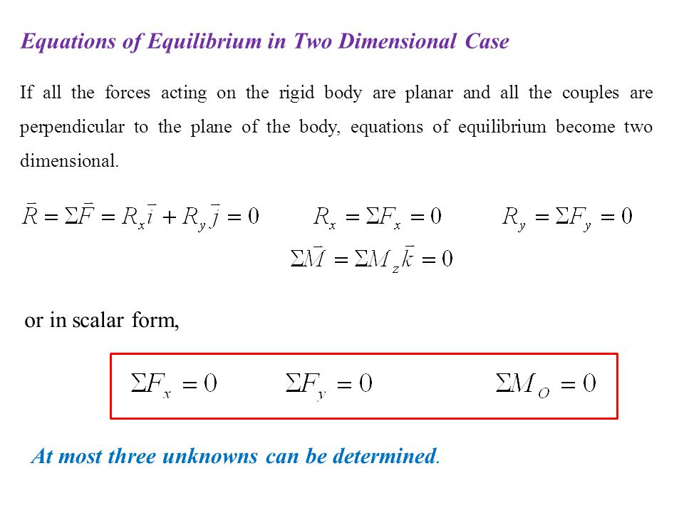 Equations of Equilibrium in Two Dimensional Case