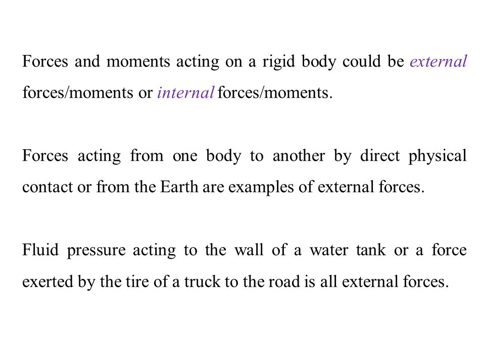 Forces and moments acting on a rigid body could be external forces/moments or internal forces/moments.