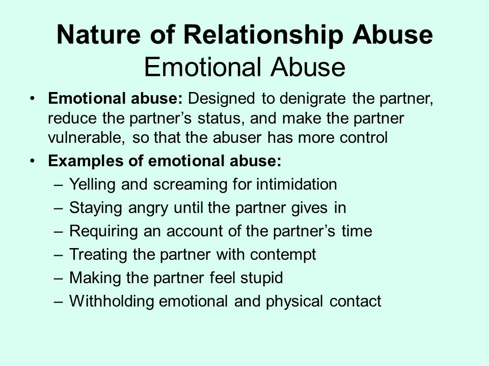 what are some examples of dating abuse Physical abuse means any form of violence, such as hitting, punching, pulling hair, and kicking abuse can happen in both dating relationships and friendships emotional abuse can be difficult to recognize.