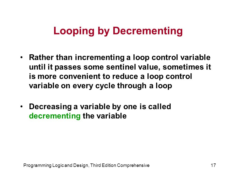 Looping by Decrementing