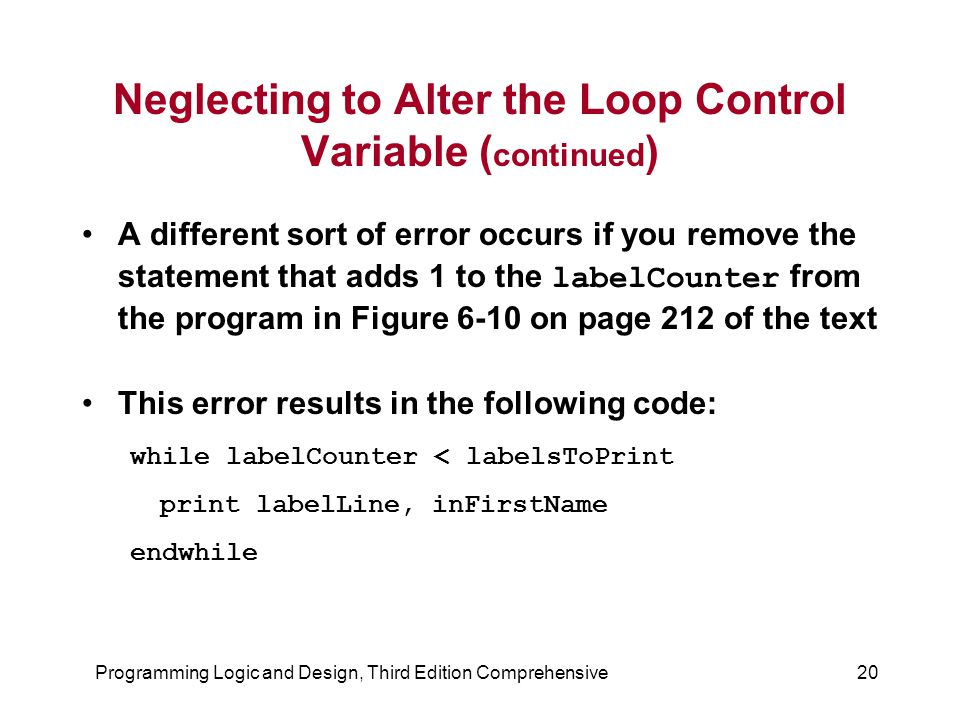 Neglecting to Alter the Loop Control Variable (continued)