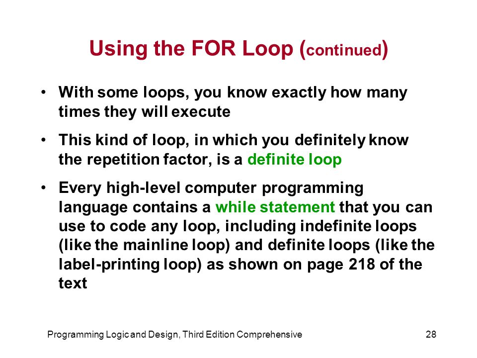 Using the FOR Loop (continued)