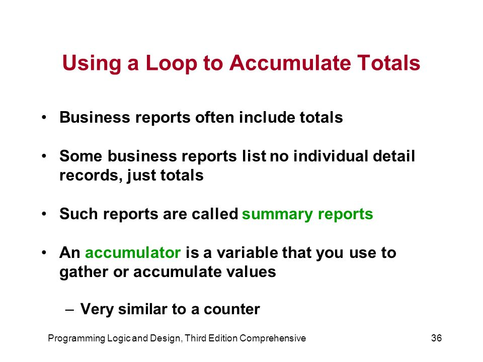 Using a Loop to Accumulate Totals