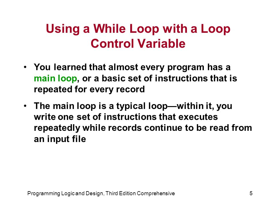 Using a While Loop with a Loop Control Variable