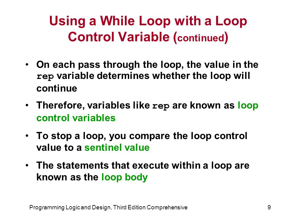 Using a While Loop with a Loop Control Variable (continued)