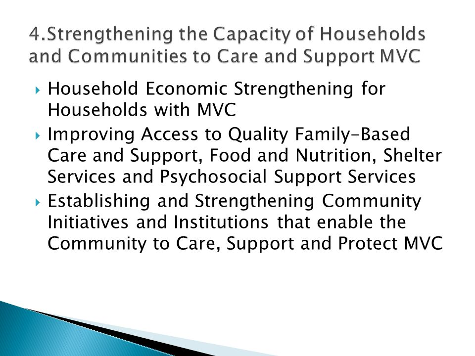 4.Strengthening the Capacity of Households and Communities to Care and Support MVC