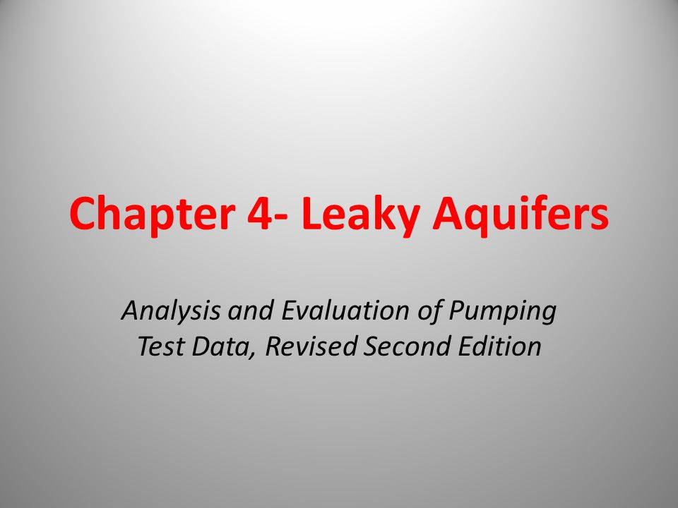 Chapter 4- Leaky Aquifers