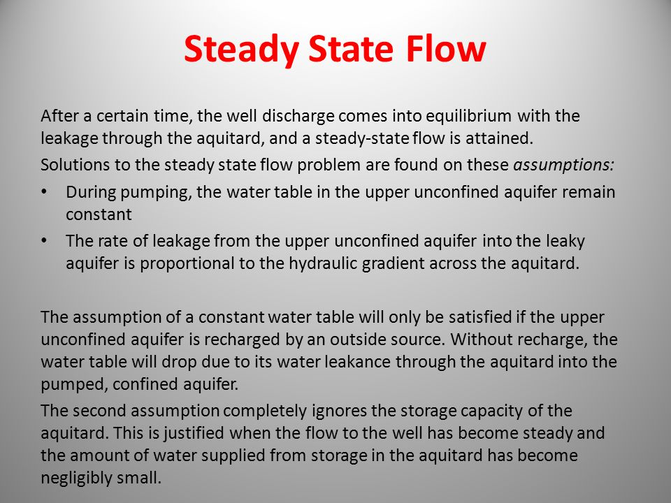 Steady State Flow