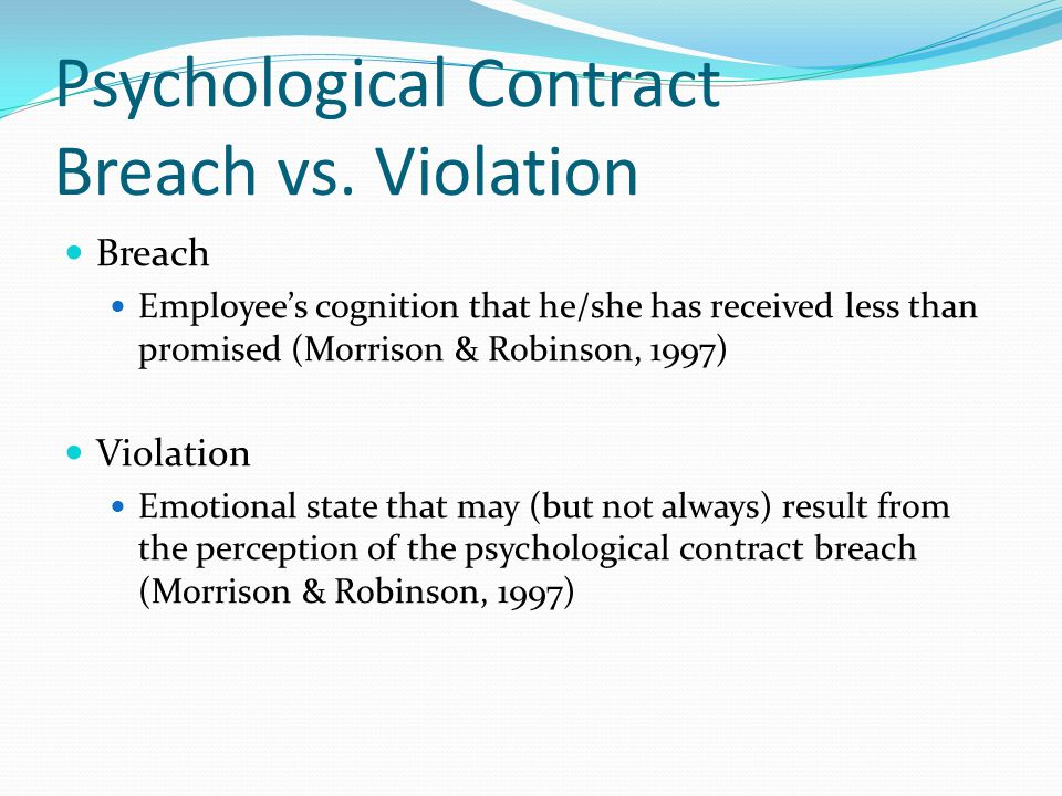 The Psychological Contract: Violations And Modifications - Ppt