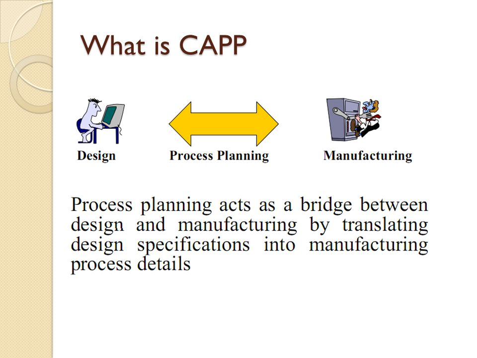 """computer aided process planning 21 computer aided process planning according to halevi and weill (1995), a process plan """"defines in detail the process that transforms raw material into the desired form."""