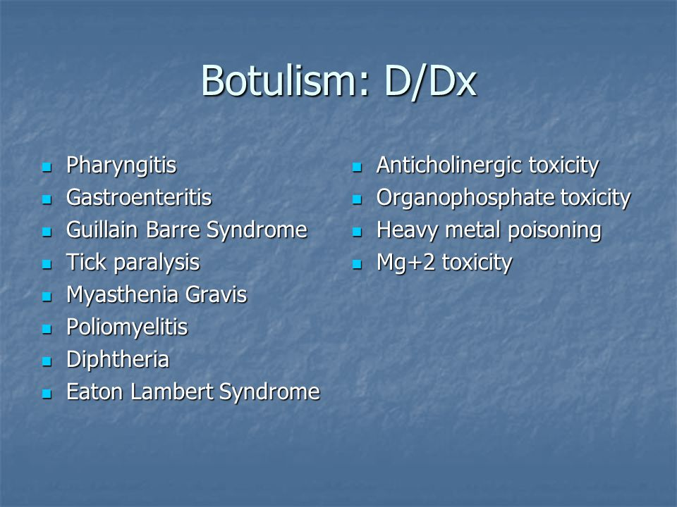 Botulism: D/Dx Pharyngitis Gastroenteritis Guillain Barre Syndrome