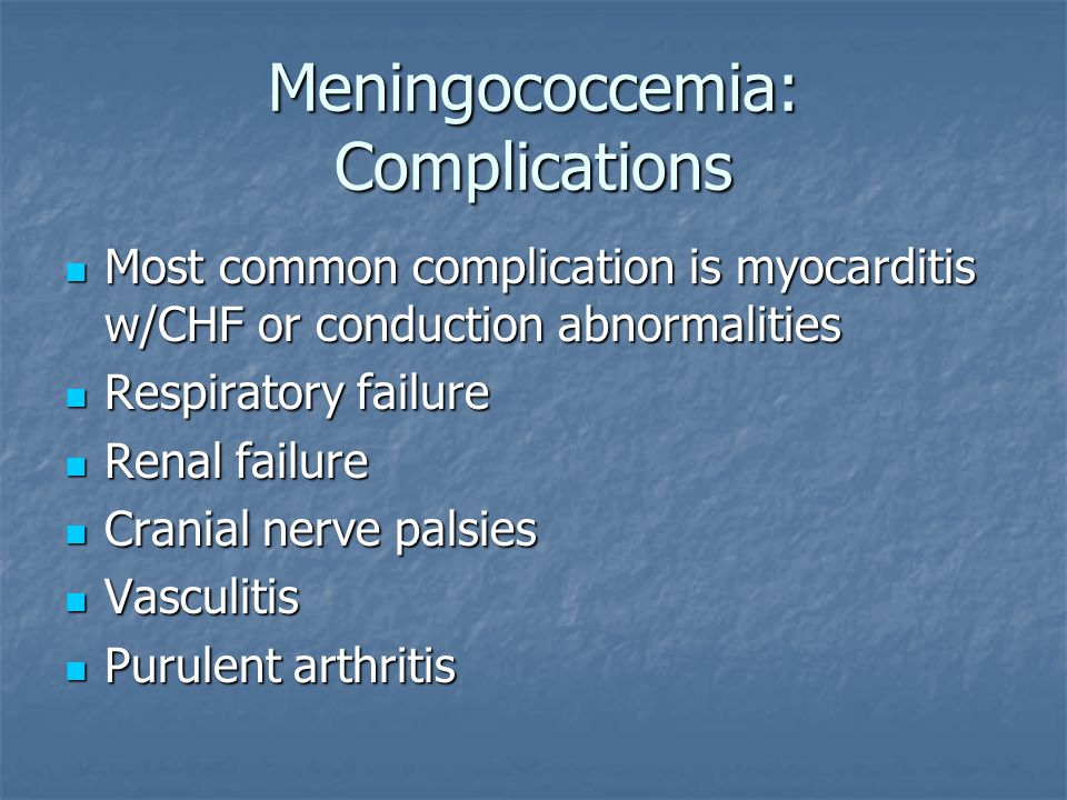 Meningococcemia: Complications