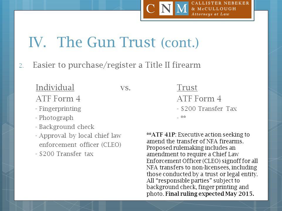 Gun Trusts Steven A. Tingey Callister Nebeker & Mccullough - Ppt