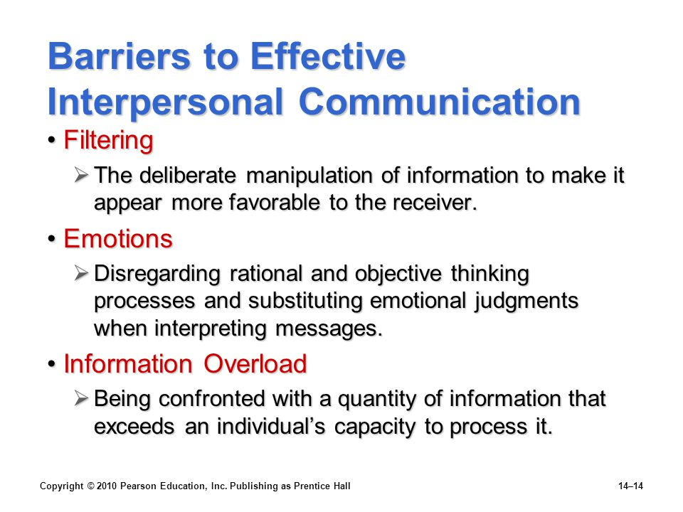 Barriers to Effective Interpersonal Communication