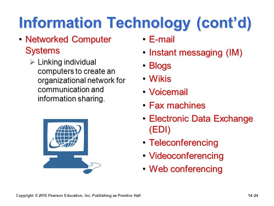 Information Technology (cont'd)