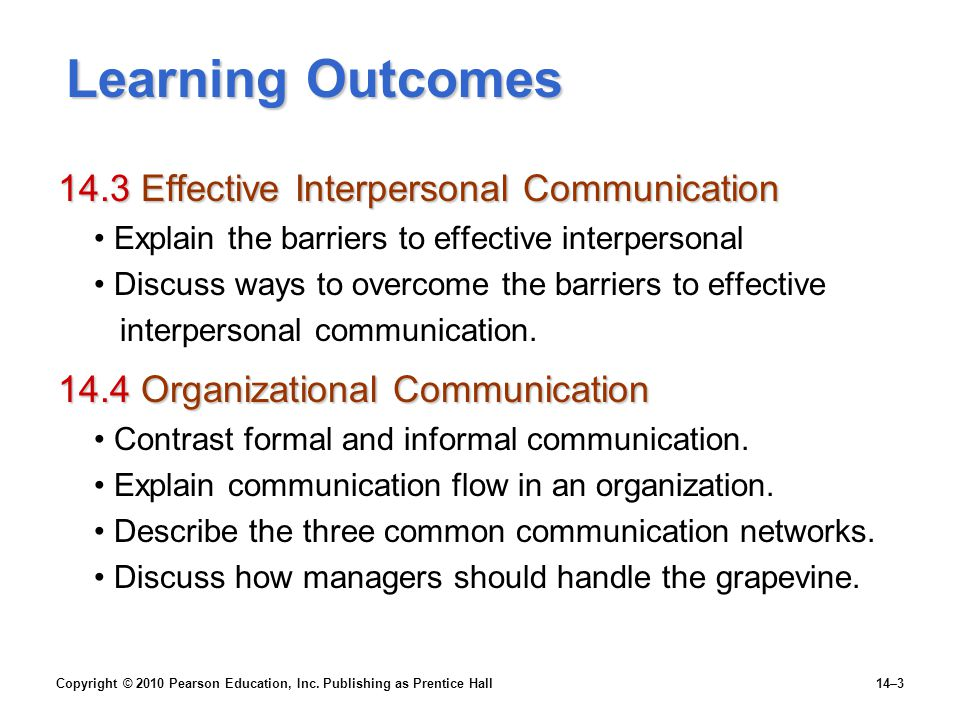 Learning Outcomes 14.3 Effective Interpersonal Communication