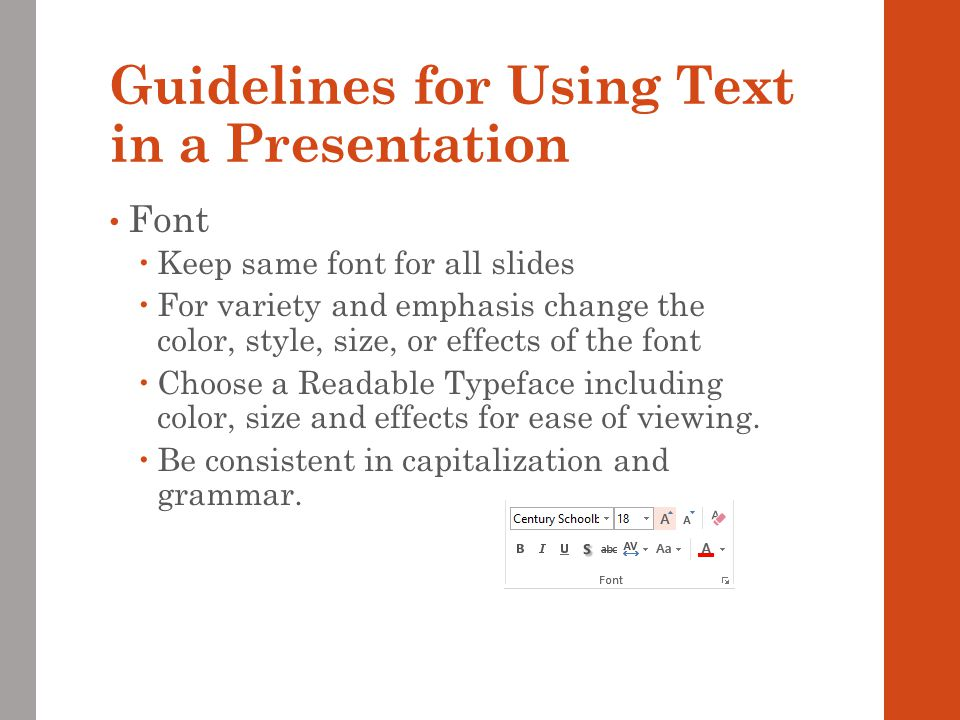 Guidelines for Using Text in a Presentation