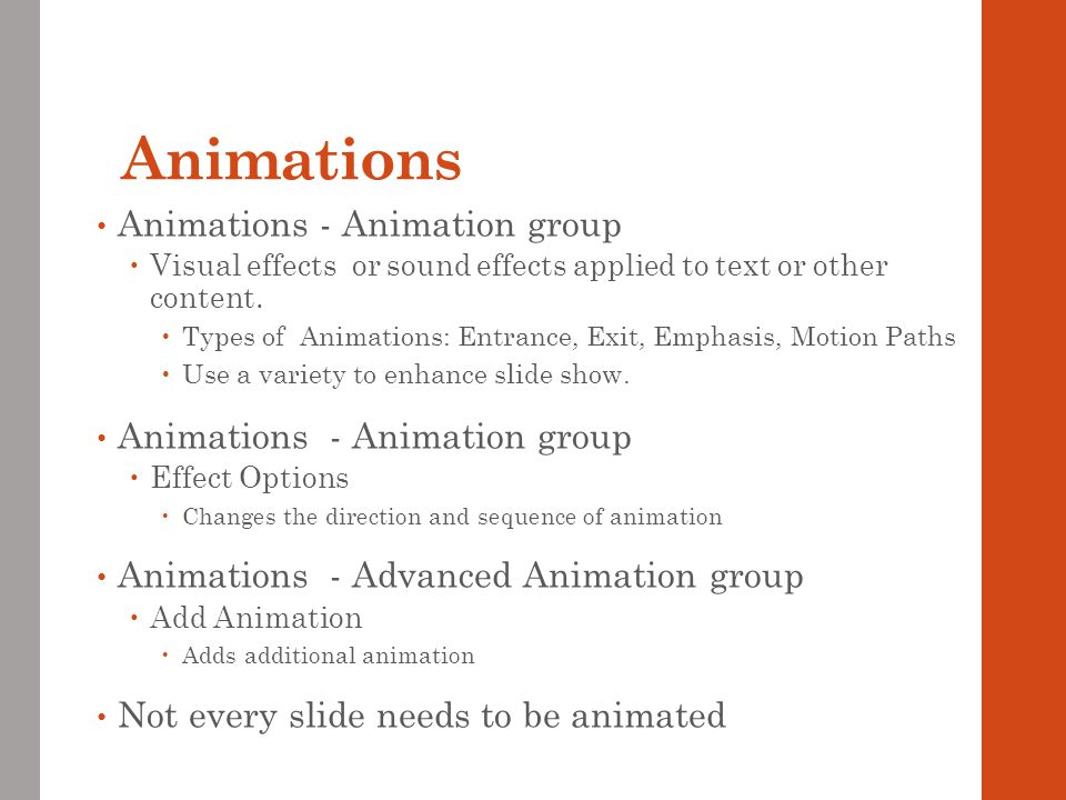 Animations Animations - Animation group Animations - Animation group
