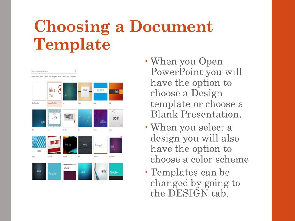 Choosing a Document Template