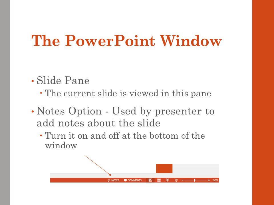 The PowerPoint Window Slide Pane