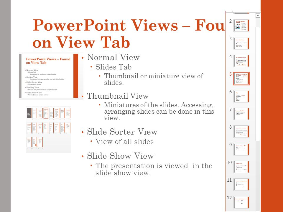 PowerPoint Views – Found on View Tab