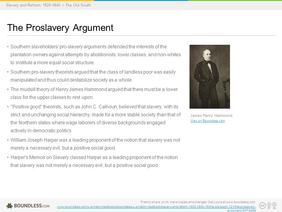 "the proslavery argument in the us Among those most famous for propagating the proslavery argument were james henry hammond, john c calhoun, and william joseph harper the famous ""mudsill speech"" (1858) of james henry hammond articulated the proslavery political argument when the ideology was at its most mature."