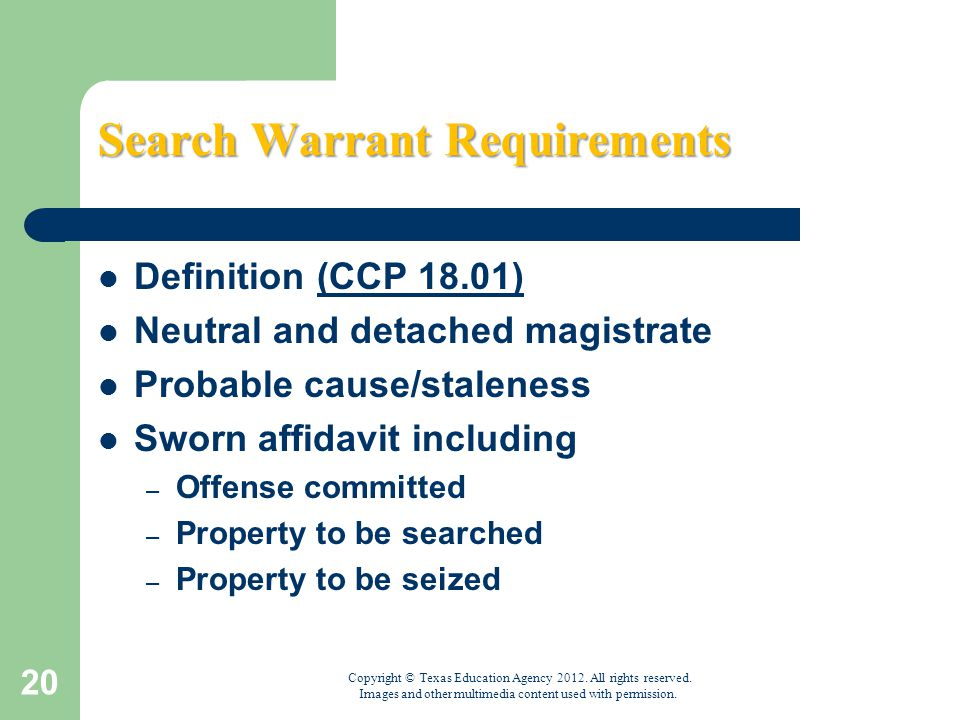 """search warrants and exceptions But the courts have carved out a variety of exceptions to that general rule,   exception"""": it allows police to search a vehicle without a warrant if."""