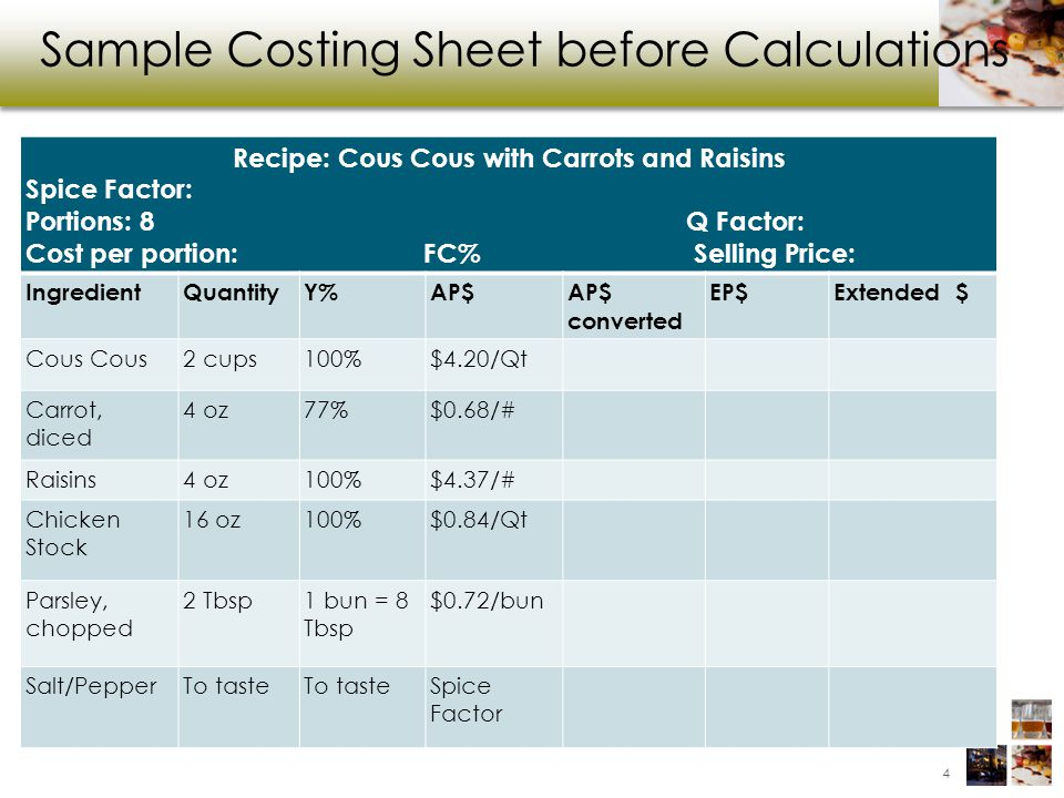 Recipe Costing Class Name Foundations Of Cost Control Instructor