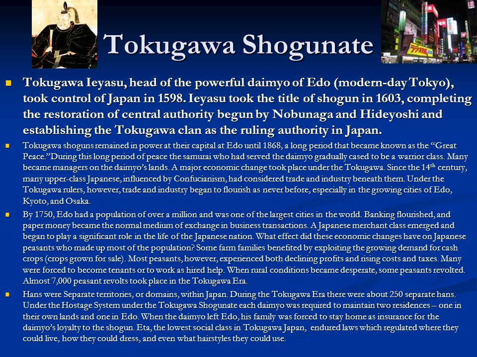 a discussion on the social life in the tokugawa period Tokugawa women and spacing the self writing a woman's life (new york: norton duction by women of the tokugawa period.